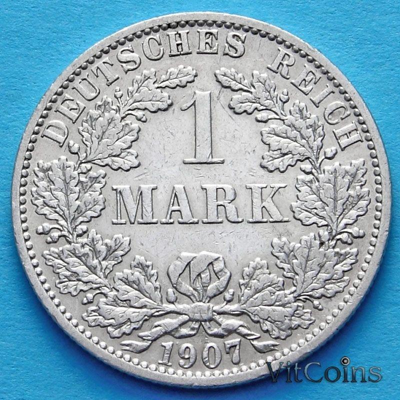 Монета Германии 1 марка 1907 год. Серебро А.