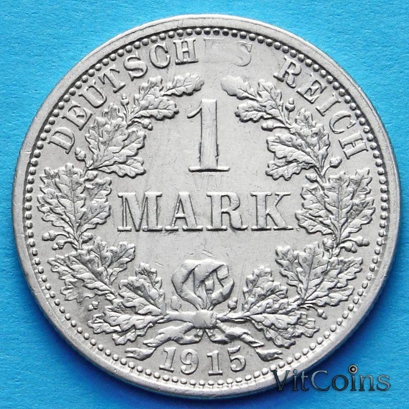 Монета Германии 1 марка 1915 год. Серебро F.
