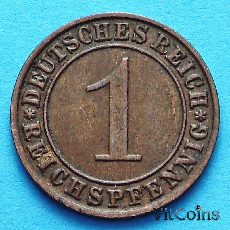 Монета Германии 1 рейхспфенниг 1924 год. J