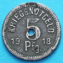Германия 5 пфеннигов 1918 год. Нотгельд Апольда. Железо.