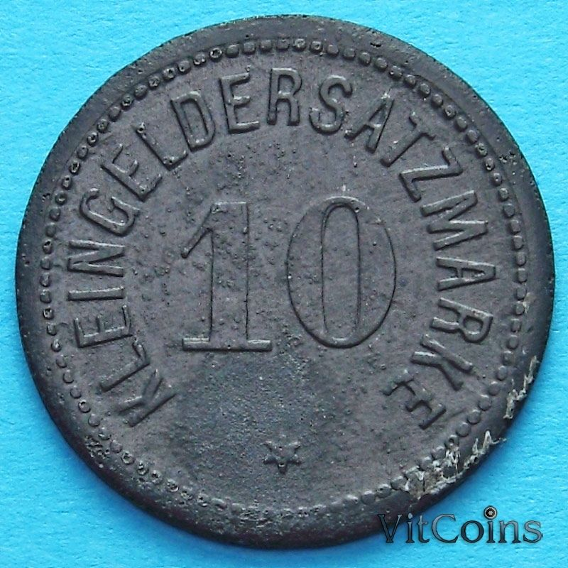 Монета Германии 10 пфеннигов 1917 год. Нотгельд Дармштадт.
