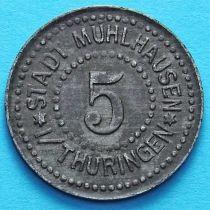 Германия 5 пфеннигов 1917 год. Нотгельд Мюльхаузен. Без отверстия.