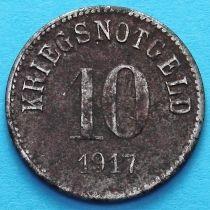 Германия 10 пфеннигов 1917 год. Нотгельд Фюрт, железо.