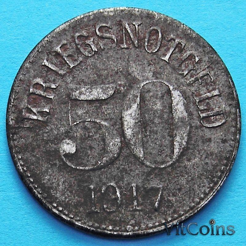 Монета Германии 50 пфеннигов 1917 год. Нотгельд Фюрн.