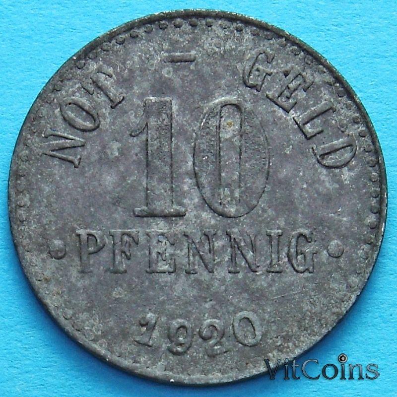 Монета Германии 10 пфеннигов 1920 год. Нотгельд Брауншвейг. Цинк.
