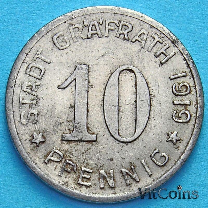 Монета Германии 10 пфеннигов 1919 год. Нотгельд Грефрат.