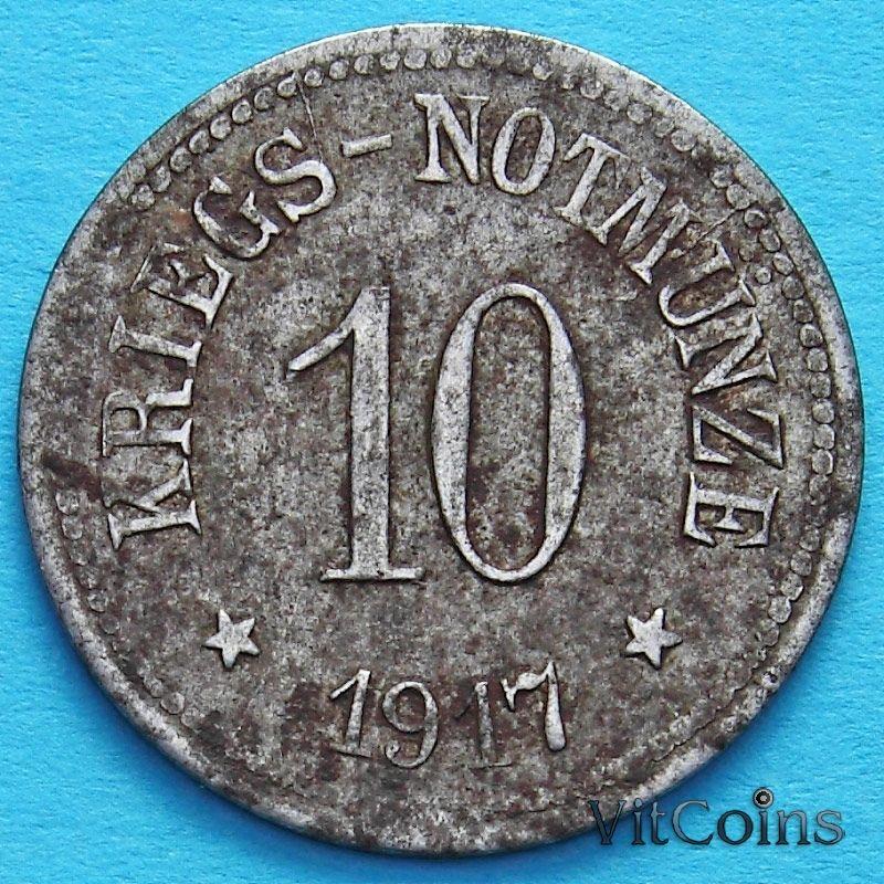 Монета Германии 10 пфеннигов 1917. Нотгельд Хам, Бавария.