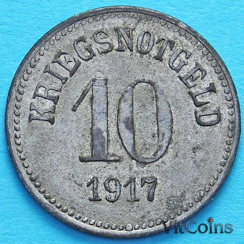 Монета Германии 10 пфеннигов 1917 год. Нотгельд Фюрт, Бавария.