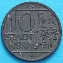 Германия 10 пфеннигов 1918 год. Нотгельд Вормс. Цинк.
