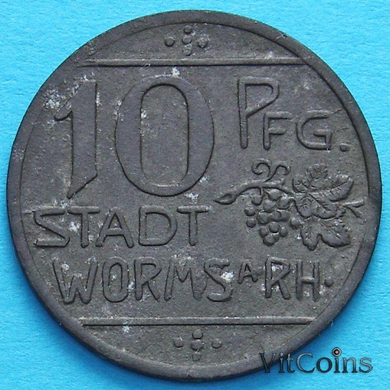 Монета Германии 10 пфеннигов 1918 год. Нотгельд Вормс. Цинк.