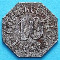 Германия 10 пфеннигов 1917 год. Нотгельд Висбаден.