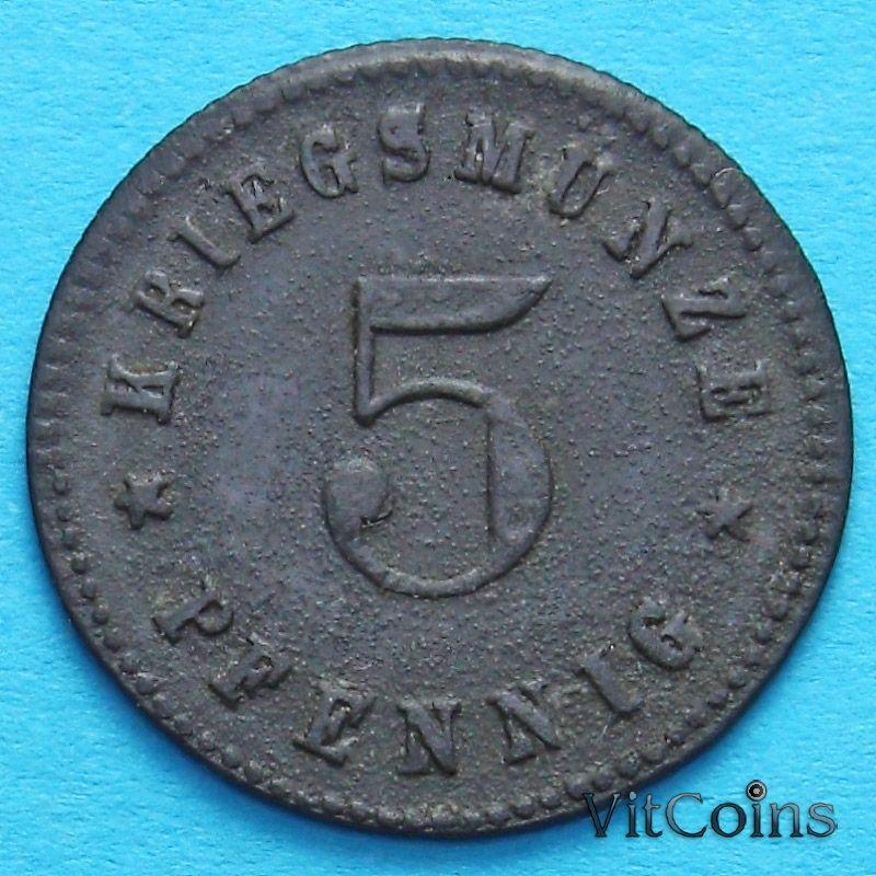 Монета Германии 5 пфеннигов 1917 год. Нотгельд Новый Ульм.