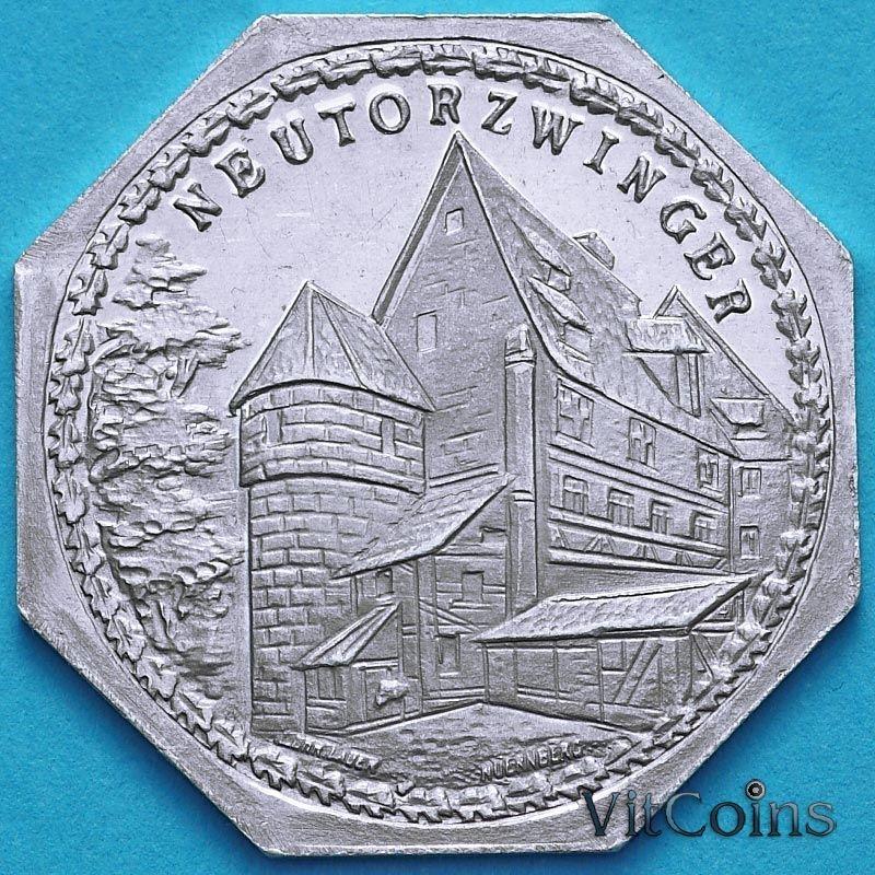Монета Германия 20 пфеннигов. Трамвайный Нотгельд Нюрнберга. Новые ворота. Башня  Neutor.