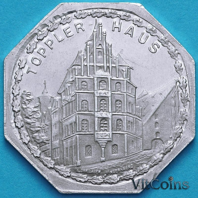 Монета Германия 20 пфеннигов. Трамвайный Нотгельд Нюрнберга. Дом Топлера.