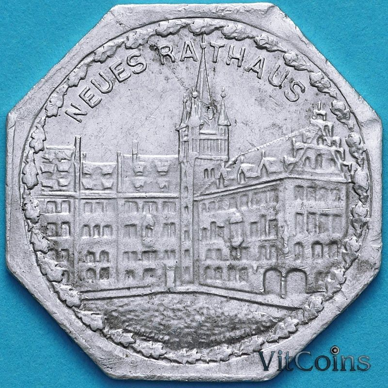 Монета Германия 20 пфеннигов. Трамвайный Нотгельд Нюрнберга. Новая Ратуша.