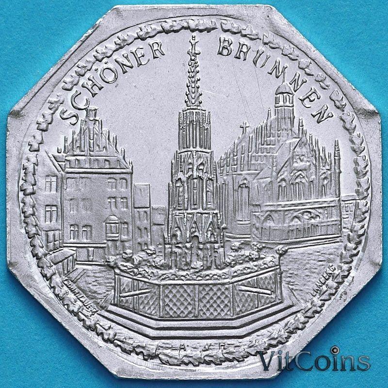 Монета Германия 20 пфеннигов. Трамвайный Нотгельд Нюрнберга. Чистый фонтан.