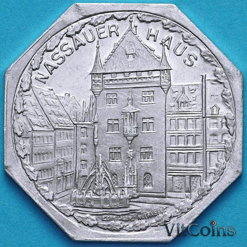 Монета Германия 20 пфеннигов. Трамвайный Нотгельд Нюрнберга. Дом Нассау.