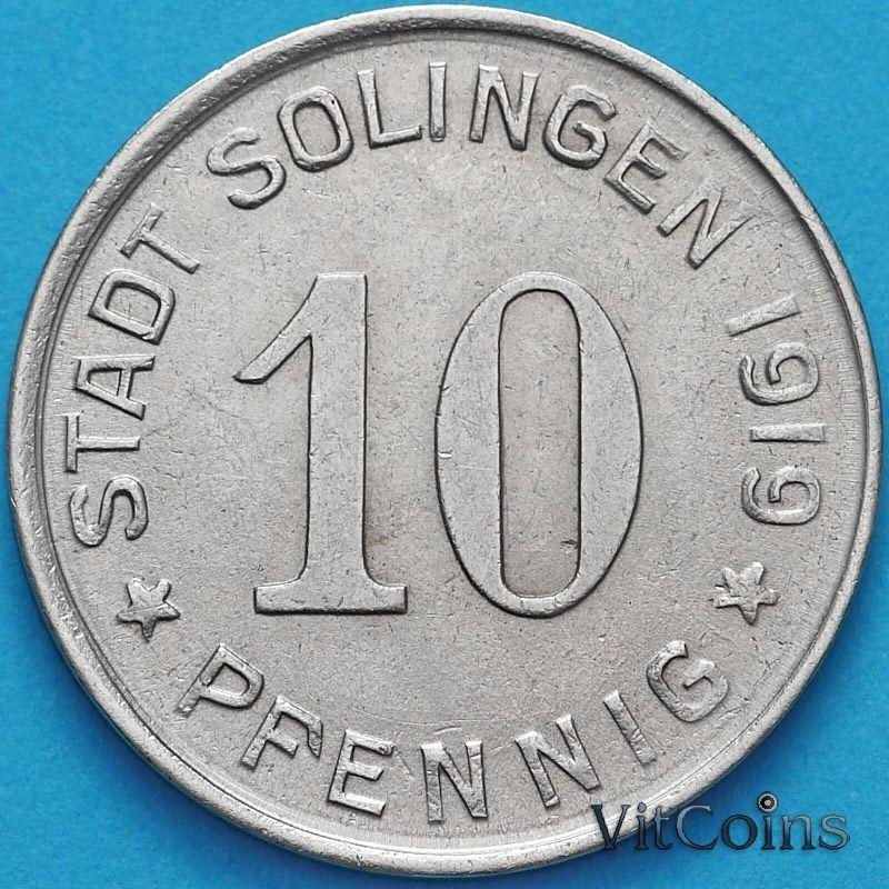Монета Германии 10 пфеннигов 1919 год. Нотгельд Золинген, редкая разновидность.