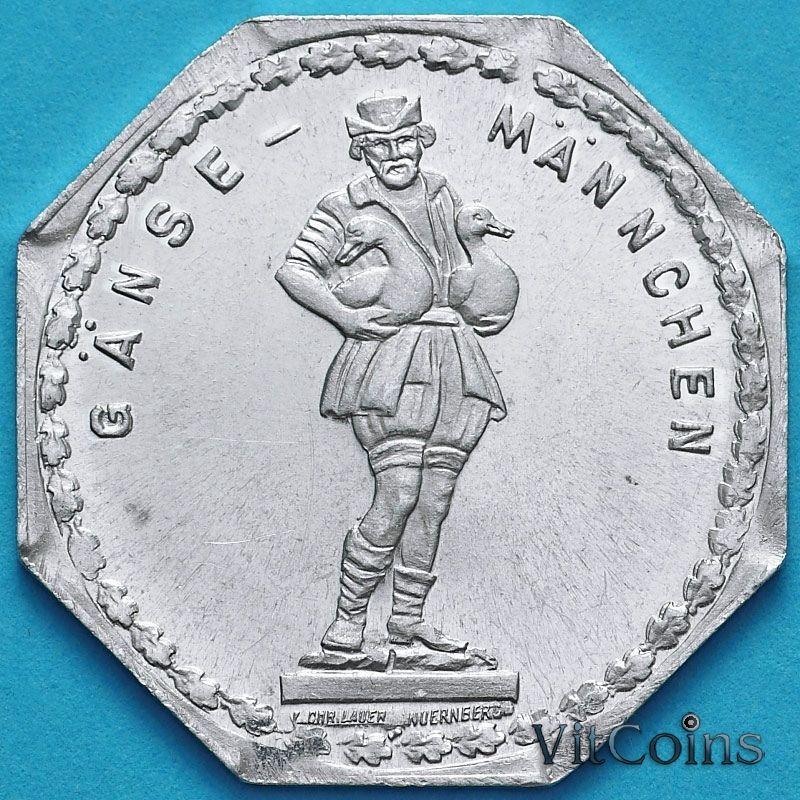 """Монета Германии 20 пфеннигов. Трамвайный Нотгельд Нюрнберга. Ганс Манчен. Фонтан """"Гусиный пастушок"""""""