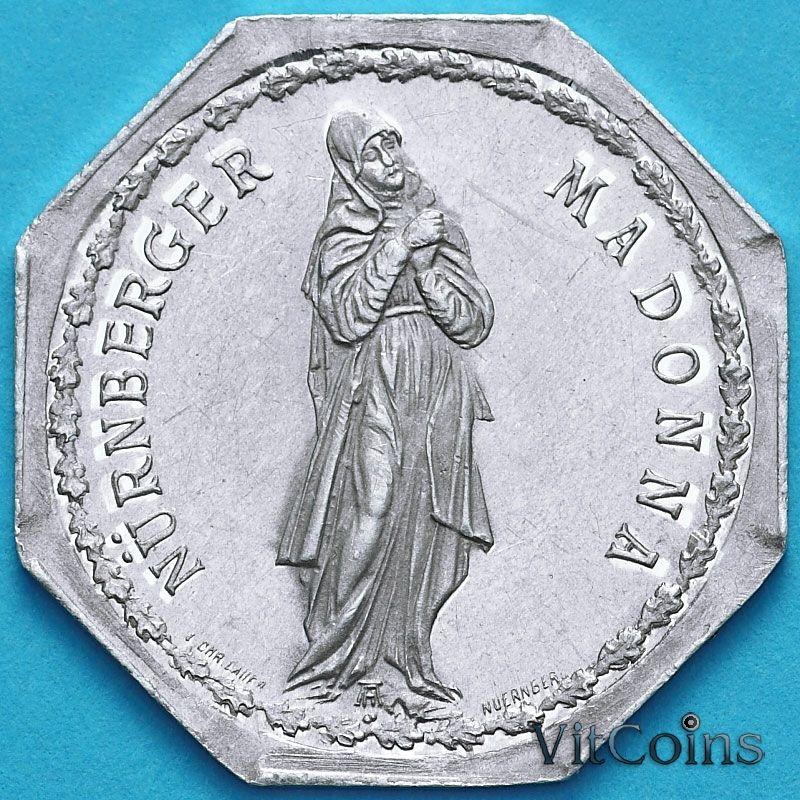 Монета Германии 20 пфеннигов. Трамвайный Нотгельд Нюрнберга. Нюрнбергская Мадонна.