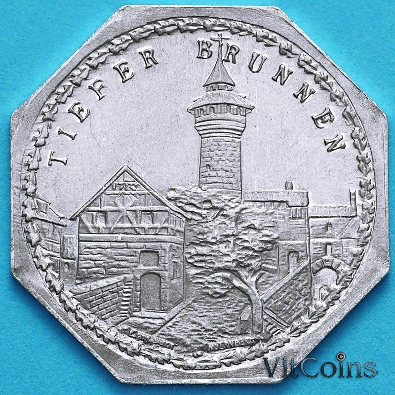 Монета Германии 20 пфеннигов. Трамвайный Нотгельд Нюрнберга. Глубокий колодец