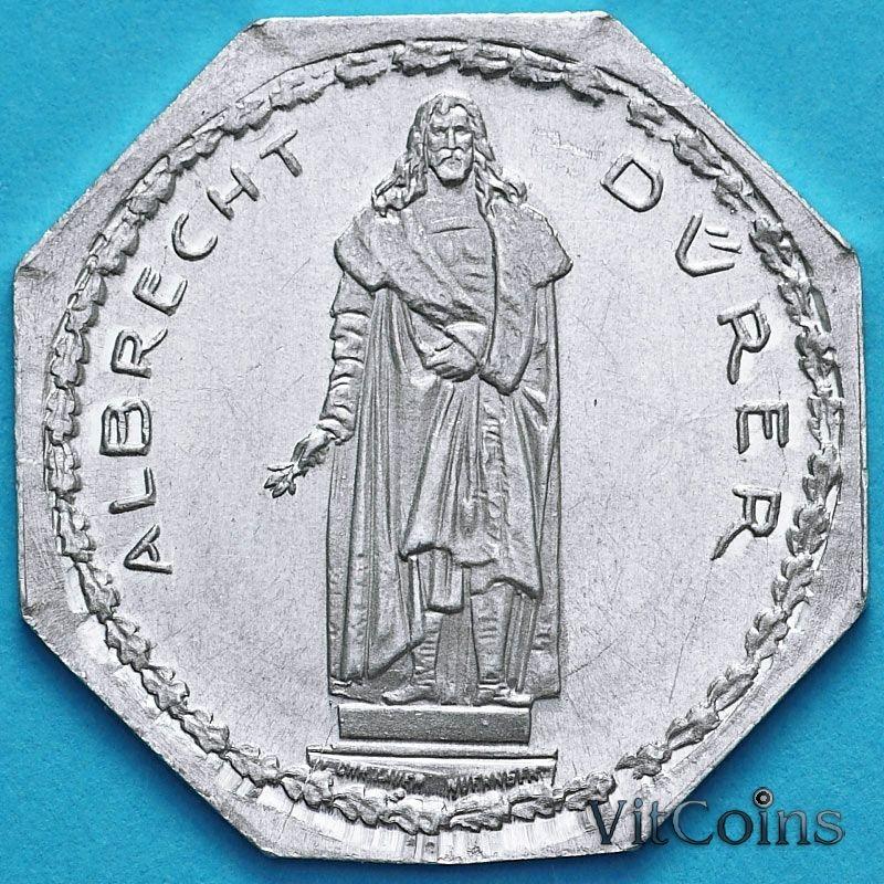 Монета Германии 20 пфеннигов. Трамвайный Нотгельд Нюрнберга. Альбрехт Дюрер