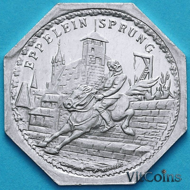 Монета Германии 20 пфеннигов. Трамвайный Нотгельд Нюрнберга. Эппелейн фон Гайлинген