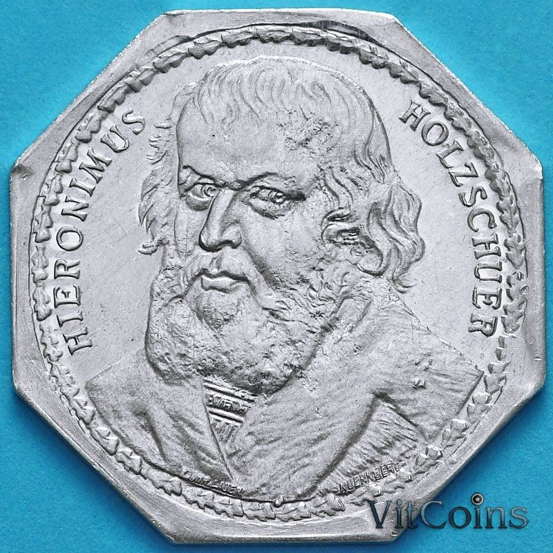Монета Германии 20 пфеннигов. Трамвайный Нотгельд Нюрнберга. Иероним Хольцшуэр.