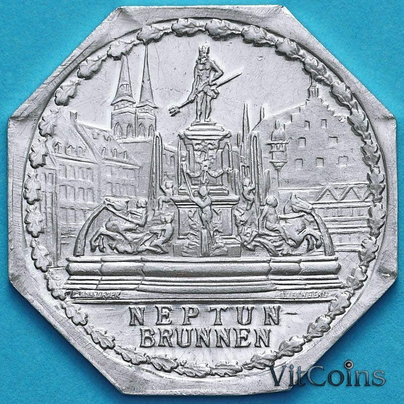 Монета Германии 20 пфеннигов. Трамвайный Нотгельд Нюрнберга. Фонтан Нептуна