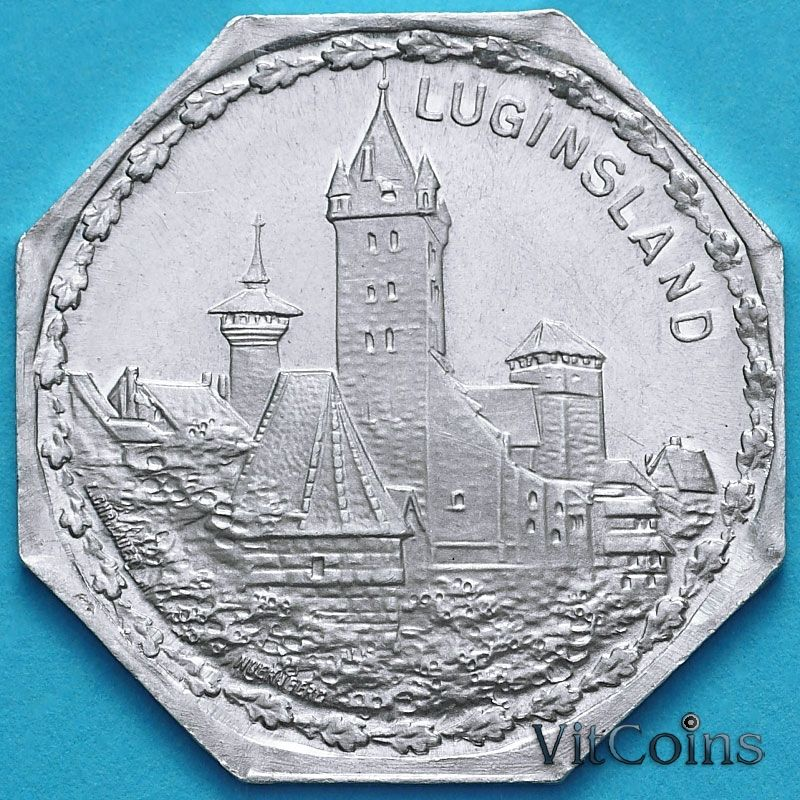 Монета Германии 20 пфеннигов. Трамвайный Нотгельд Нюрнберга. Башня Лугинслэнд.
