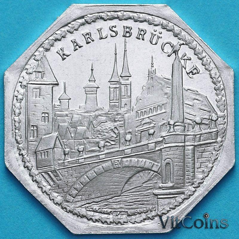 Монета Германии 20 пфеннигов. Трамвайный Нотгельд Нюрнберга. Карлов мост