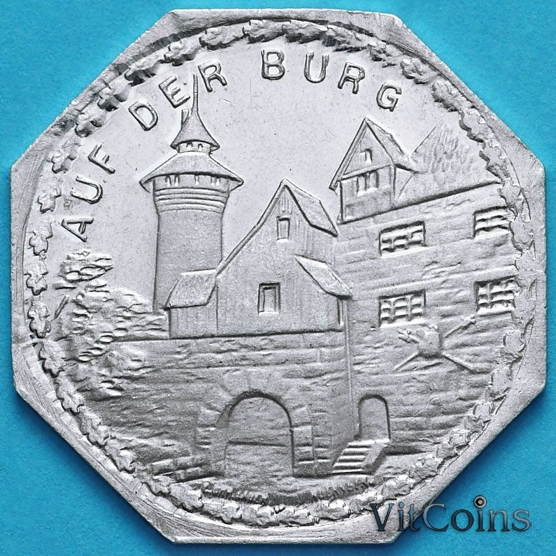 Монета Германии 20 пфеннигов. Трамвайный Нотгельд Нюрнберга. Нюрнбергский замок