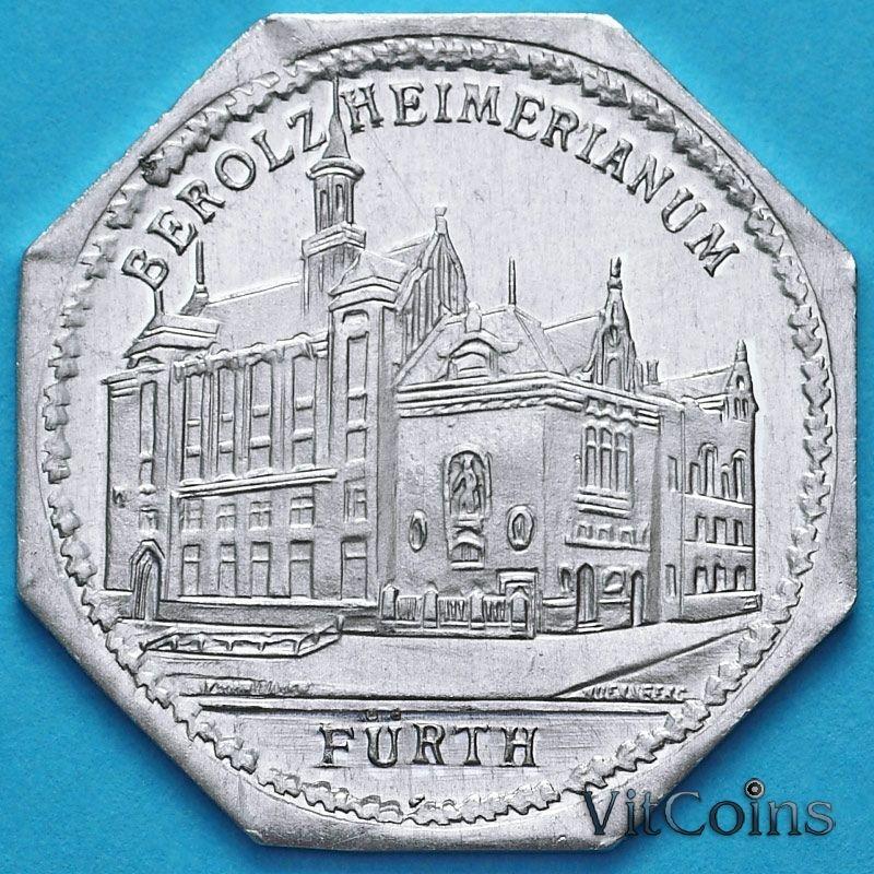 Монета Германии 20 пфеннигов. Трамвайный Нотгельд Нюрнберга. Театр Комедии. Berolzheimerianum.