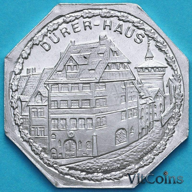 Монета Германии 20 пфеннигов. Трамвайный Нотгельд Нюрнберга. Дом Дюрера.