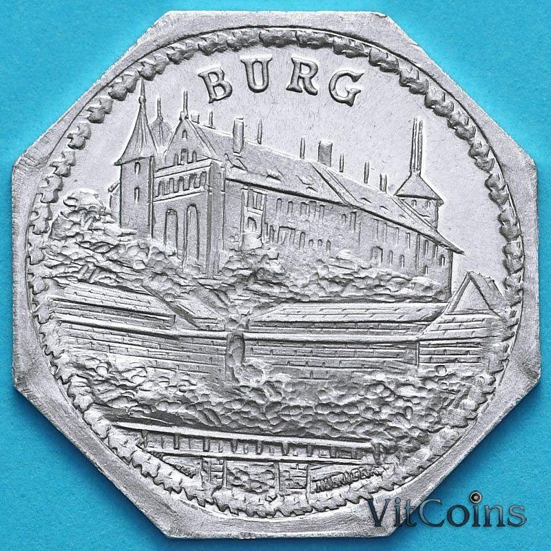 Монета Германии 20 пфеннигов. Трамвайный Нотгельд Нюрнберга. Нюрнбергская крепость-Бург.
