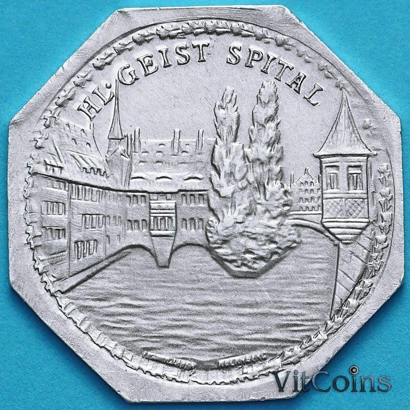 Монета Германии 20 пфеннигов. Трамвайный Нотгельд Нюрнберга. Госпиталь Святого Духа