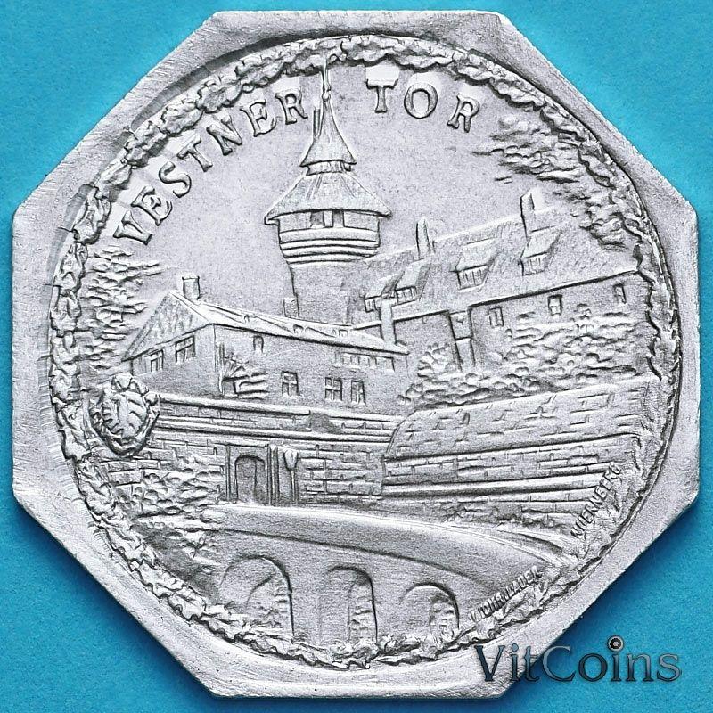 Монета Германии 20 пфеннигов. Трамвайный Нотгельд Нюрнберга. Северные ворота.