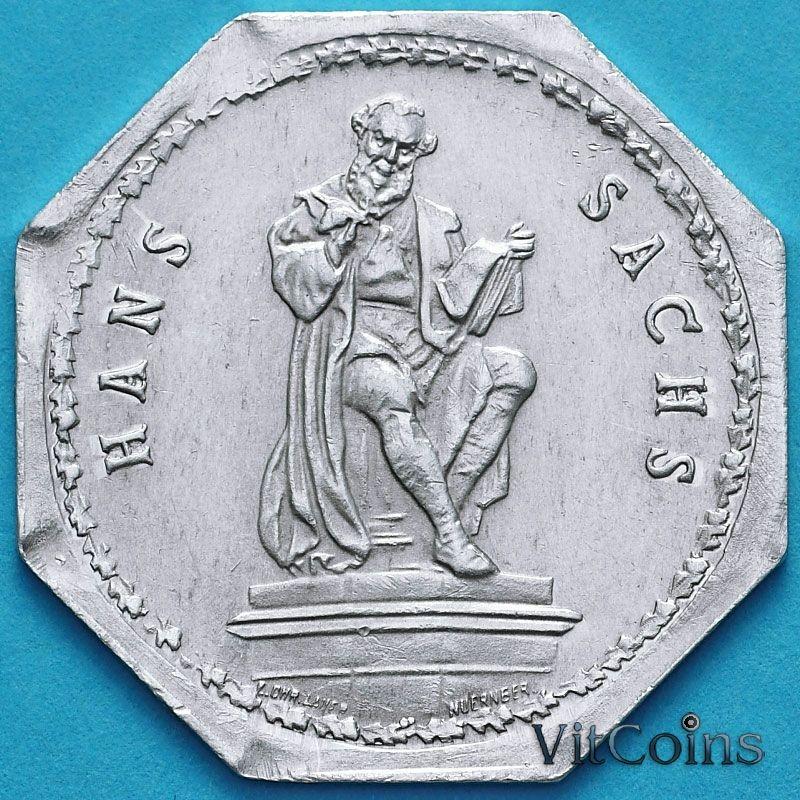 Монета Германии 20 пфеннигов. Трамвайный Нотгельд Нюрнберга. Ганс Сакс
