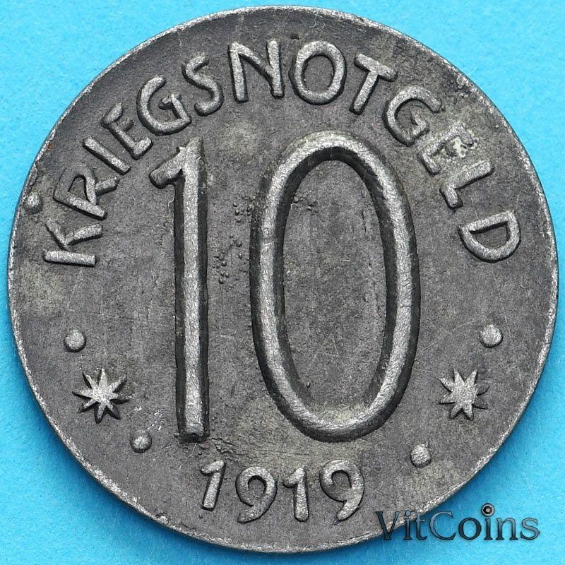 Монета Германия 10 пфеннигов 1919 год. Нотгельд  Херсфельд.