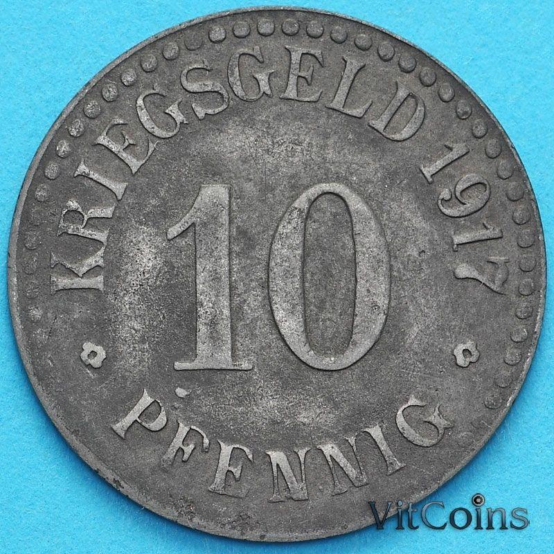 Монета Германии 10 пфеннигов 1917 год. Нотгельд Кассель. Цинк.