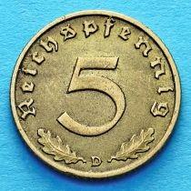 Германия 5 рейхспфеннигов 1937 год. D.