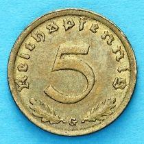 Германия 5 рейхспфеннигов 1938 год. G.