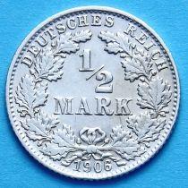 Германия 1/2 марки 1906 г. Серебро D