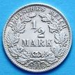 Монета Германии 1/2 марки 1916 г. Серебро А