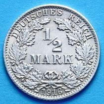 Германия 1/2 марки 1916 г. Серебро А
