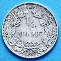 Германия 1/2 марки 1917 г. Серебро А