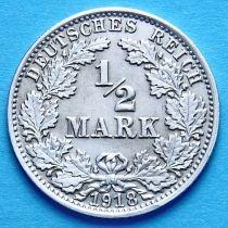 Германия 1/2 марки 1918 г. Серебро А