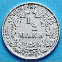 Германия 1/2 марки 1911 г. Серебро Е
