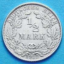 Германия 1/2 марки 1912 г. Серебро D