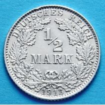 Германия 1/2 марки 1913 г. Серебро D
